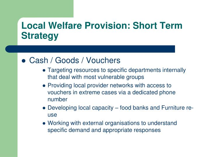 Local Welfare Provision: Short Term Strategy