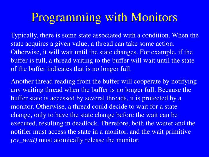 Programming with Monitors