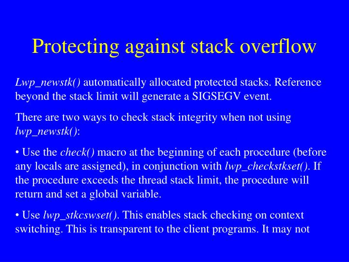 Protecting against stack overflow