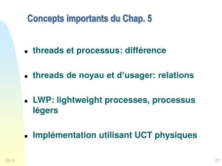 Concepts importants du Chap. 5