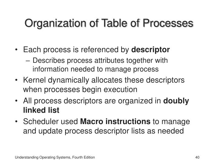 Organization of Table of Processes