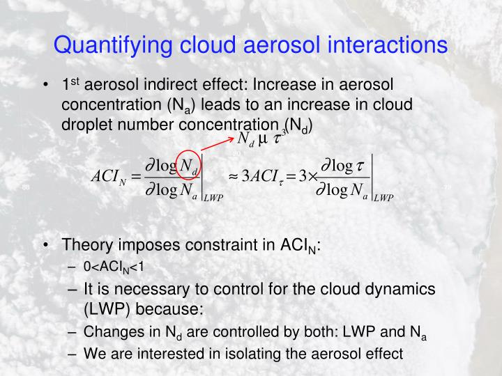 Quantifying cloud aerosol interactions
