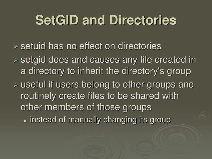 SetGID and Directories