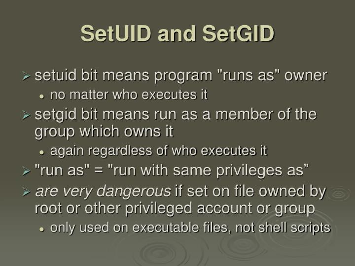 SetUID and SetGID