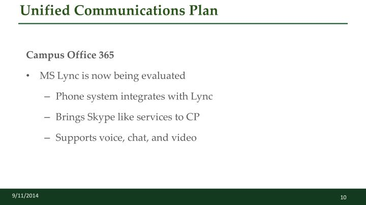Unified Communications Plan