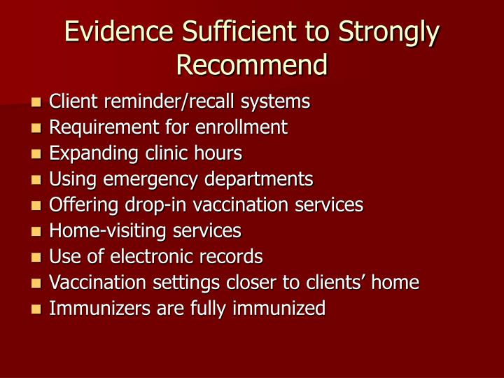 Evidence Sufficient to Strongly Recommend