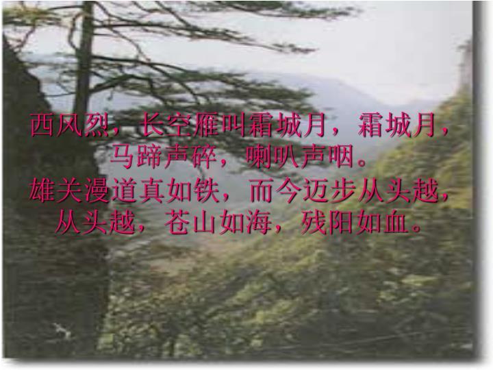 西风烈,长空雁叫霜城月,霜城月,马蹄声碎,喇叭声咽。