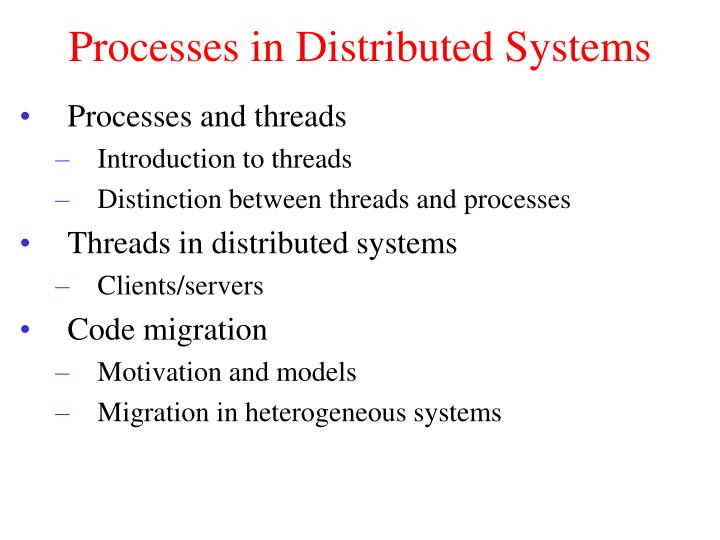 Processes in distributed systems
