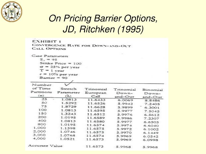 On Pricing Barrier Options,