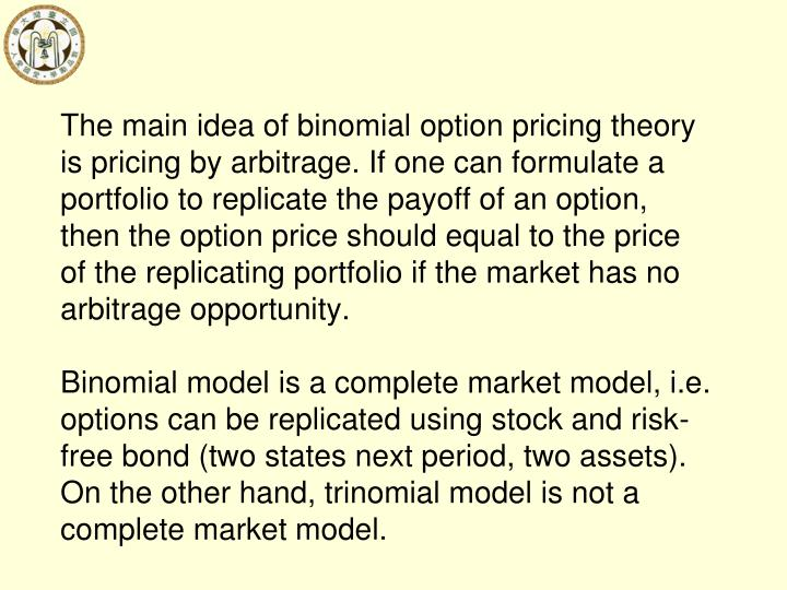 The main idea of binomial option pricing theory is pricing by arbitrage. If one can formulate a portfolio to replicate the payoff of an option, then the option price should equal to the price of the replicating portfolio if the market has no arbitrage opportunity.