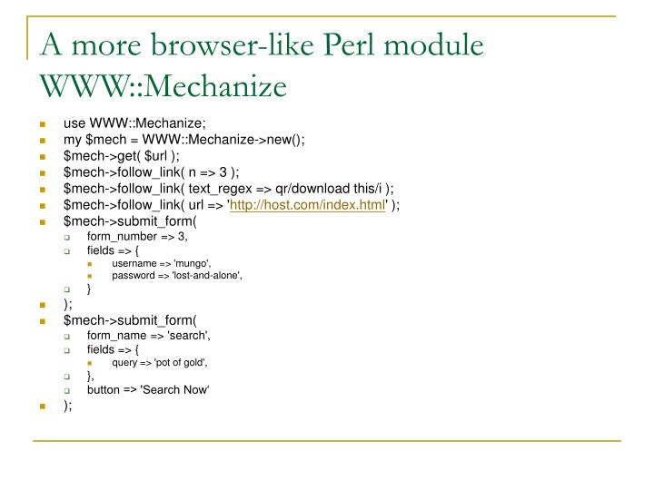 A more browser-like Perl module