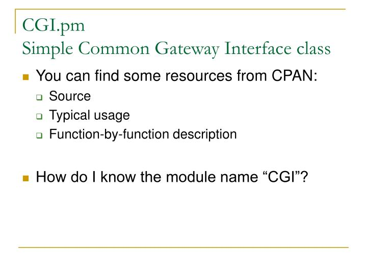 Cgi pm simple common gateway interface class