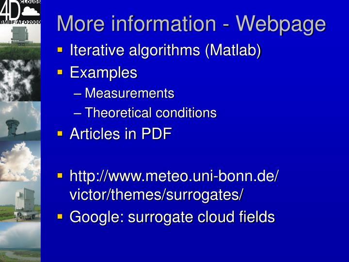 More information - Webpage