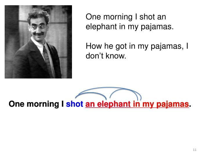 One morning I shot an elephant in my pajamas.