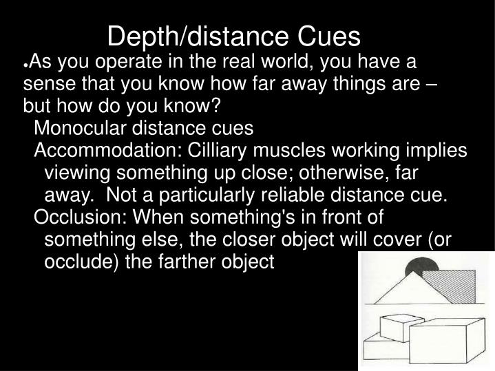 Depth distance cues