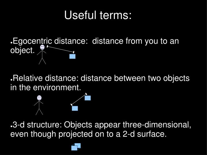 Egocentric distance:  distance from you to an object.
