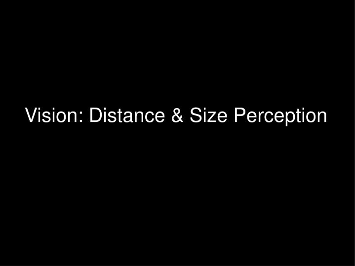 Vision: Distance & Size Perception