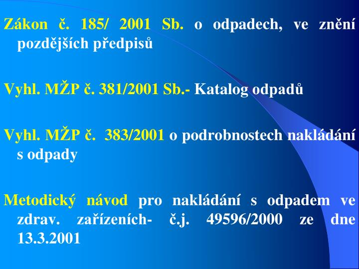 Zákon č. 185/ 2001 Sb.