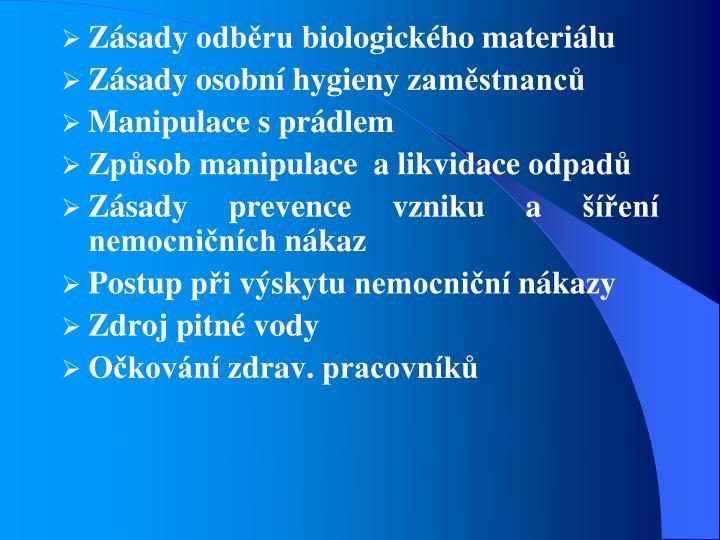 Zásady odběru biol