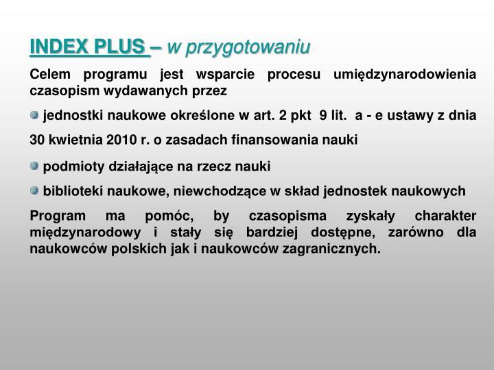 INDEX PLUS