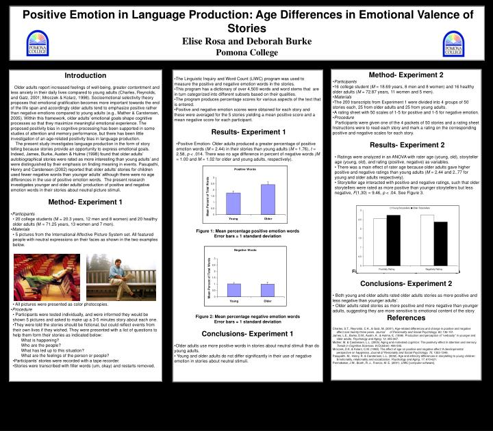 Positive Emotion in Language Production: Age Differences in Emotional Valence of Stories