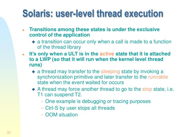 Solaris: user-level thread execution
