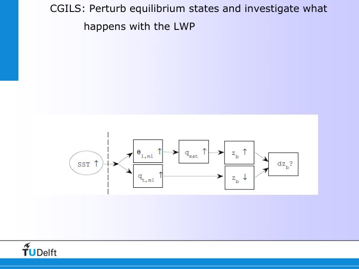 CGILS: Perturb equilibrium states and investigate what happens with the LWP