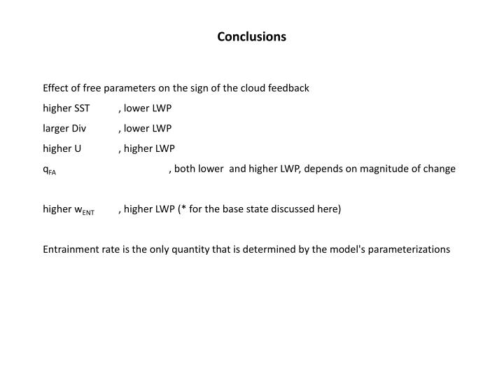 Effect of free parameters on the sign of the cloud feedback