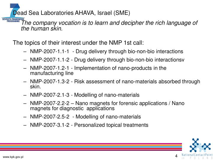 Dead Sea Laboratories AHAVA, Israel (SME)