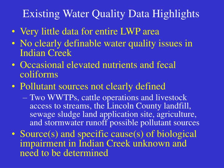 Existing Water Quality Data Highlights