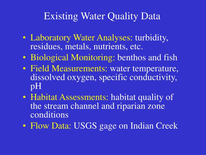 Existing Water Quality Data