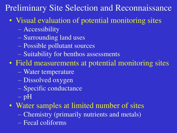 Preliminary Site Selection and Reconnaissance