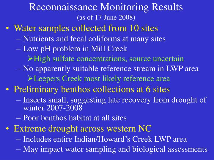 Reconnaissance Monitoring Results