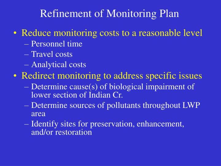 Refinement of Monitoring Plan