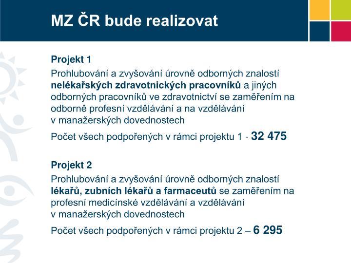 MZ ČR bude realizovat