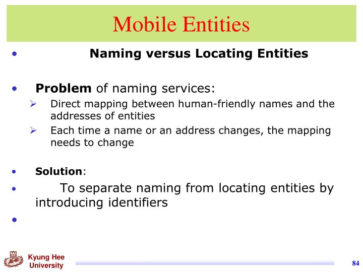Mobile Entities