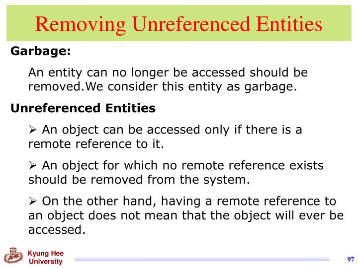 Removing Unreferenced Entities