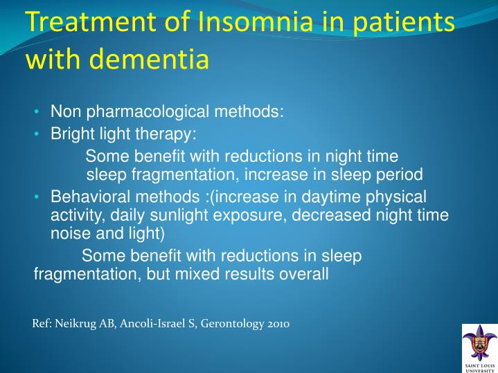 Treatment of Insomnia in patients with dementia