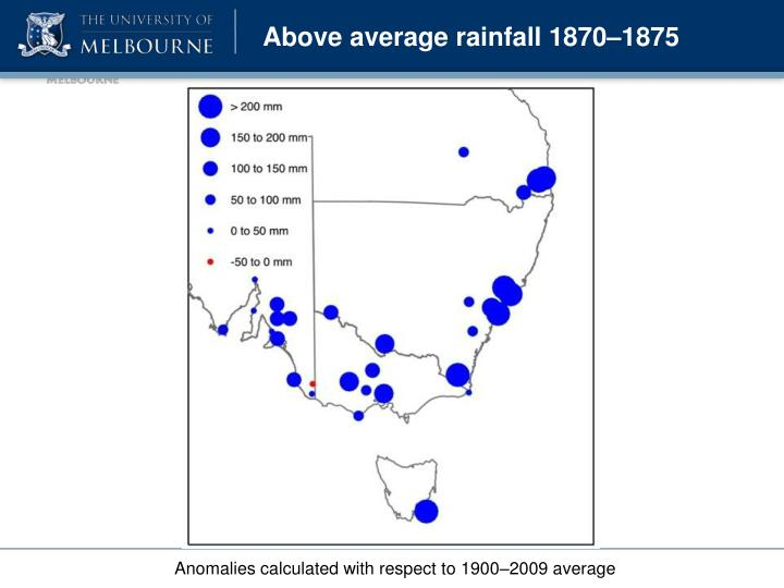 Above average rainfall 1870–1875