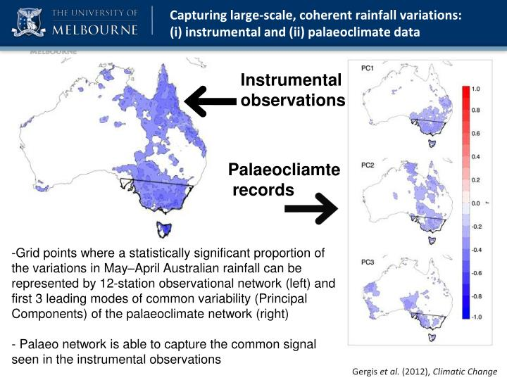 Capturing large-scale, coherent rainfall variations:    (i) instrumental and (ii) palaeoclimate data