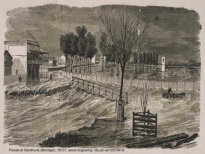 Floods at Sandhurst (Bendigo), 1873?, wood engraving, nla.pic-an10319478.