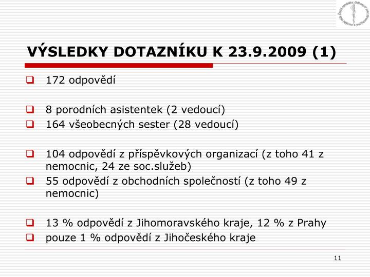 VÝSLEDKY DOTAZNÍKU K 23.9.2009 (1)