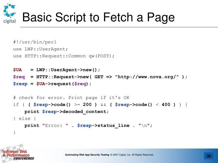 Basic Script to Fetch a Page
