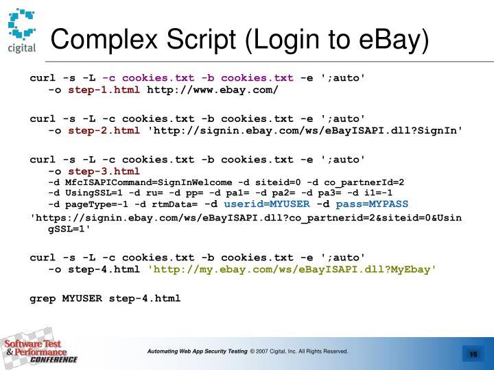 Complex Script (Login to eBay)
