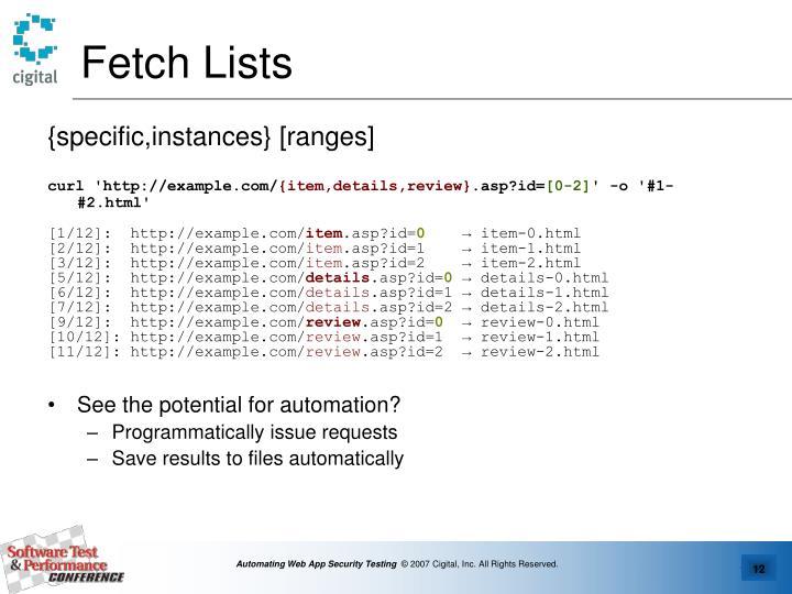 Fetch Lists