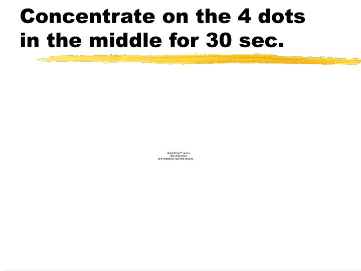 Concentrate on the 4 dots in the middle for 30 sec.