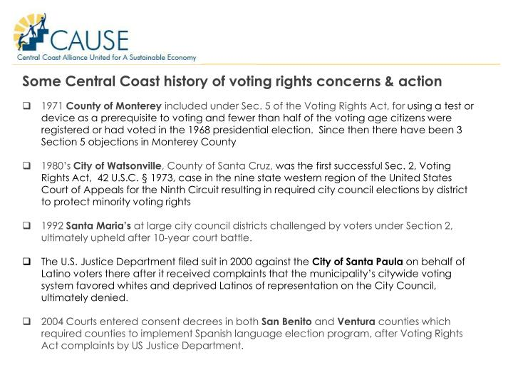 Some Central Coast history of voting rights concerns & action