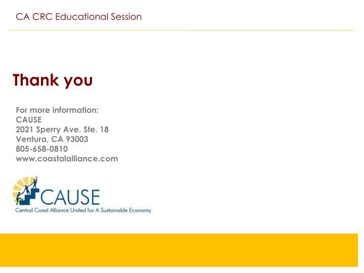 CA CRC Educational Session