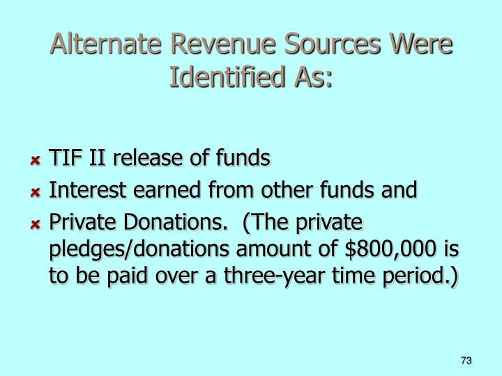Alternate Revenue Sources Were Identified As: