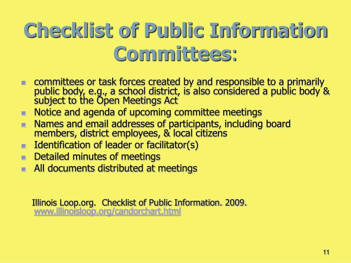 Checklist of Public Information